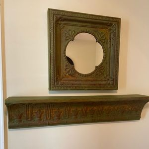 Pressed tin mirror and shelf